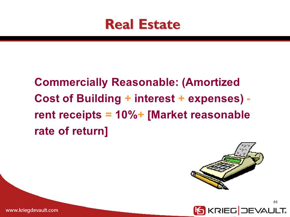 Real Estate Commercially Reasonable: (Amortized Cost of Building + interest + expenses) - rent receipts = 10%+ [Market reasonable rate of return]
